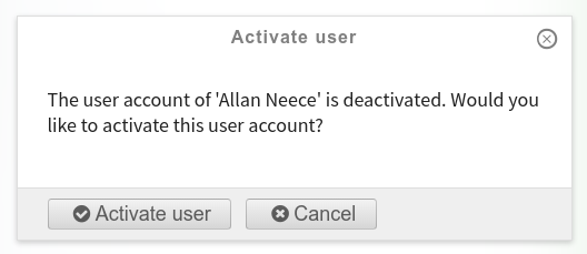 The activate/deactivate user confirmation panel